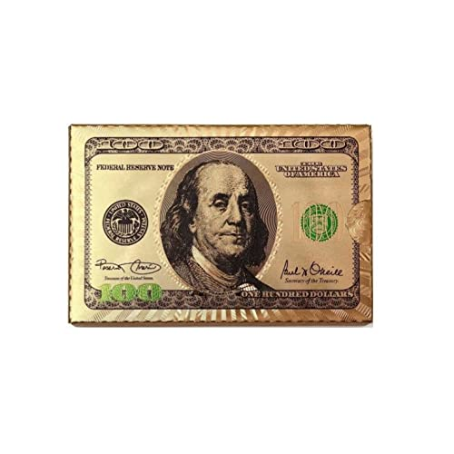 Real 100 dollar bill amazon gyzo33 inc deck of 24k gold foil plating poker plastic playing cards with certificate of maxwellsz