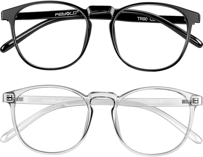 Amazon Com Feiyold Blue Light Blocking Glasses Women Men For Computer Use Lightweight Anti Eyestrain Gaming Glasses 2pack Clothing
