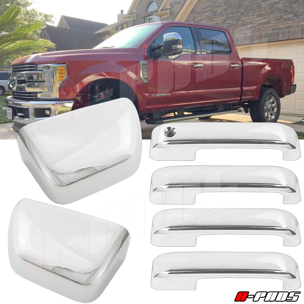 A-Pads Chrome Cover for 2017-2018 Ford F250 F350 F450 Top Half Mirror Cover + 4 Door Handle Cover with Smart Keyhole Without Passenger Smart Keyhole