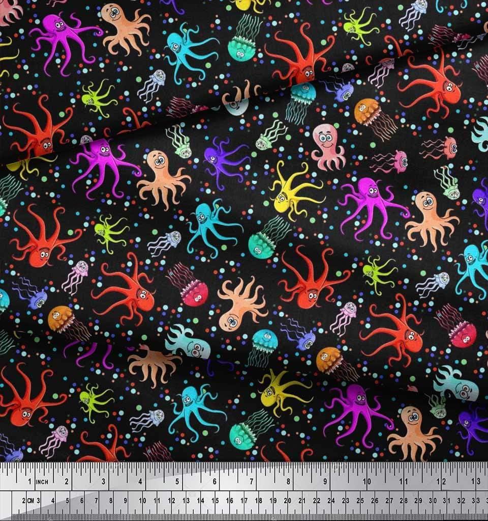 Soimoi Amarillo Georgette poli Tela punto pulpos y medusas Oceano estampados de tela por metro 42 Pulgadas de ancho