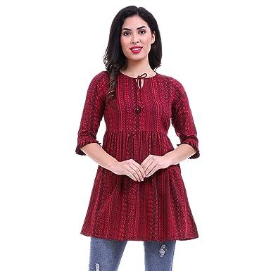 71a7eb92e ROZVEH Women's Maroon Print Ruffle Hem Tunic top: Amazon.in ...