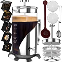 French Press Coffee Maker - BEST Presses Makers - 34 Oz, 8 Cup - The Only Encapsulated Lid Stainless Steel 304 NOT…