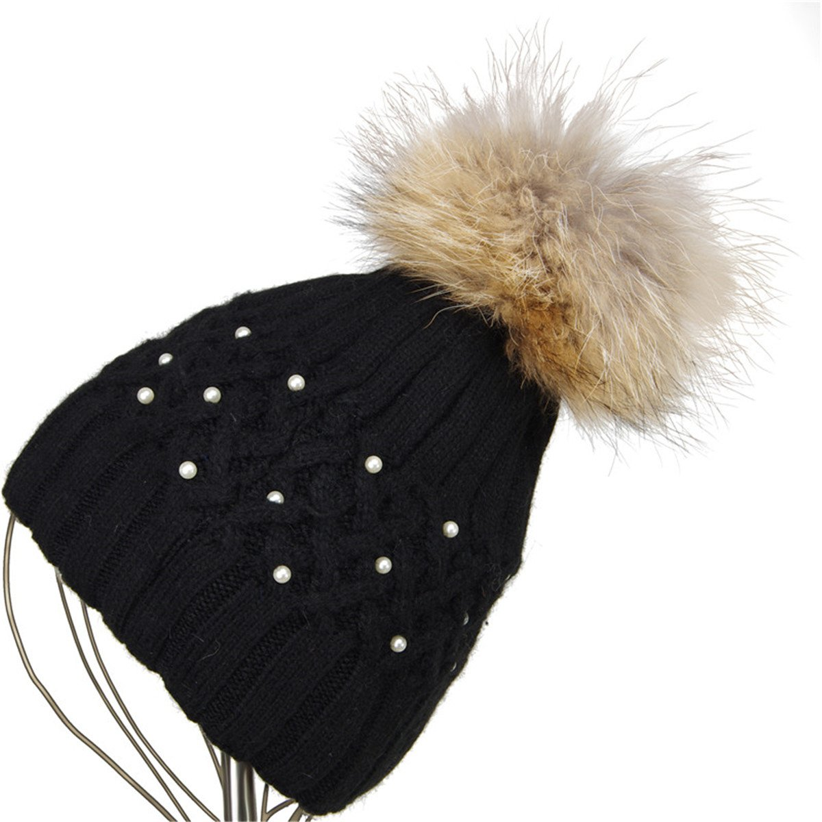 GESDY Women Winter Warm Knitting Ski Cap Beanie Pearl Rabbit Fur Pom Bobble  Hat at Amazon Women s Clothing store  638dae1c6e5