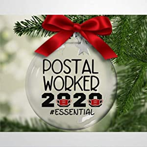 DONL9BAUER Postal Worker 2020#Essential Christmas Balls Ornaments for Xmas Tree Postal Worker, Mail Delivery, Letter Carrier Hanging Ball Shatterproof Christmas Decorations for Holiday Wedding Party