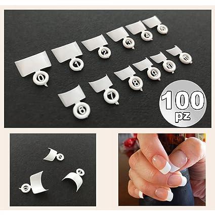 tradeshoptraesio® – Juego 100 French Wrap Blanco corta tips Tip para manos Reconstrucción Uñas Postizas