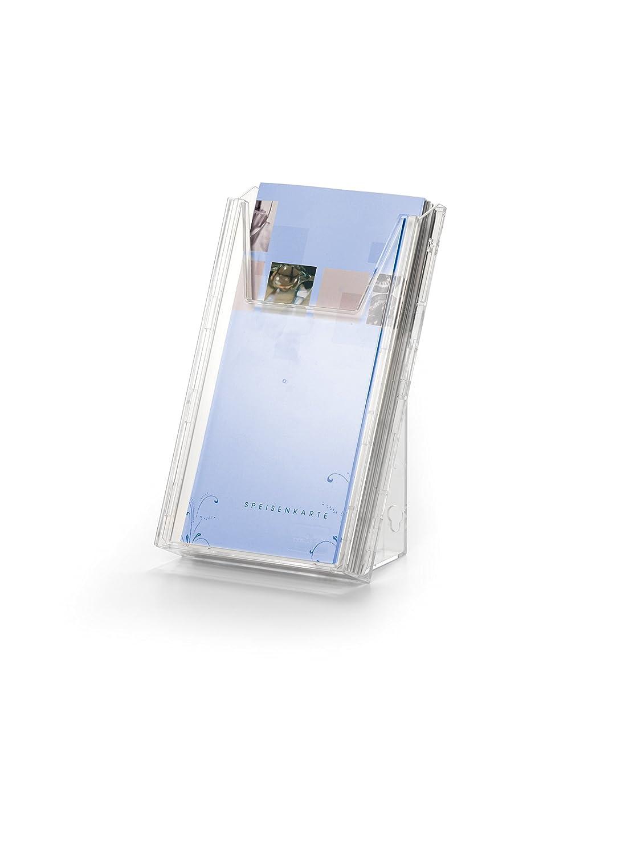 DURABLE 859019 - Combiboxx 1/3 A4 set L, 3 vaschette porta dépliant da f.to 1/3 A4 o A6 fino a un f.to di 210x116 mm, da tavolo e da parete, trasparente 859919