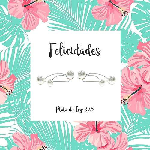 Pendientes climbers perlas Plata de Ley con tarjeta regalo ...