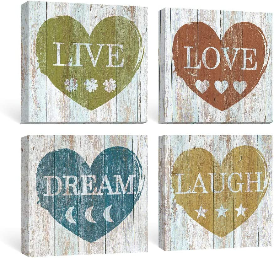SUMGAR Rustic Wall Art Bedroom Inspirational Quotes Pictures Bathroom Farmhouse Decor Motivational Blue Canvas Paintings Dorm Grey Yellow Prints Gray Red Artwork Set of 4 Home Gifts,12x12 inch