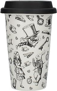 CreativeTops Victoria and Albert 'Alice in Wonderland' Ceramic Travel Mug – Black and White