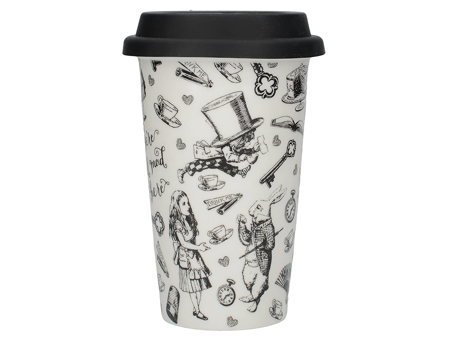 fe807f4deef Creative Tops Victoria and Albert 'Alice in Wonderland' Ceramic Travel Mug  - Black and White: Amazon.co.uk: Kitchen & Home