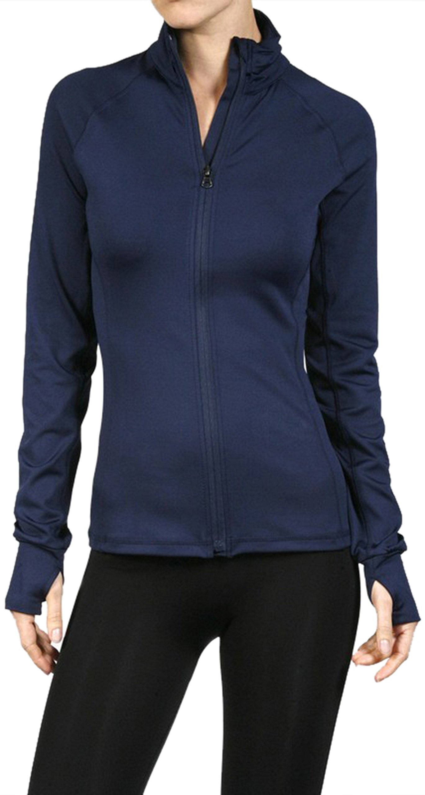 ToBeInStyle Women's Color Block L.S. Full Zip-up Track Jacket - Navy - Large