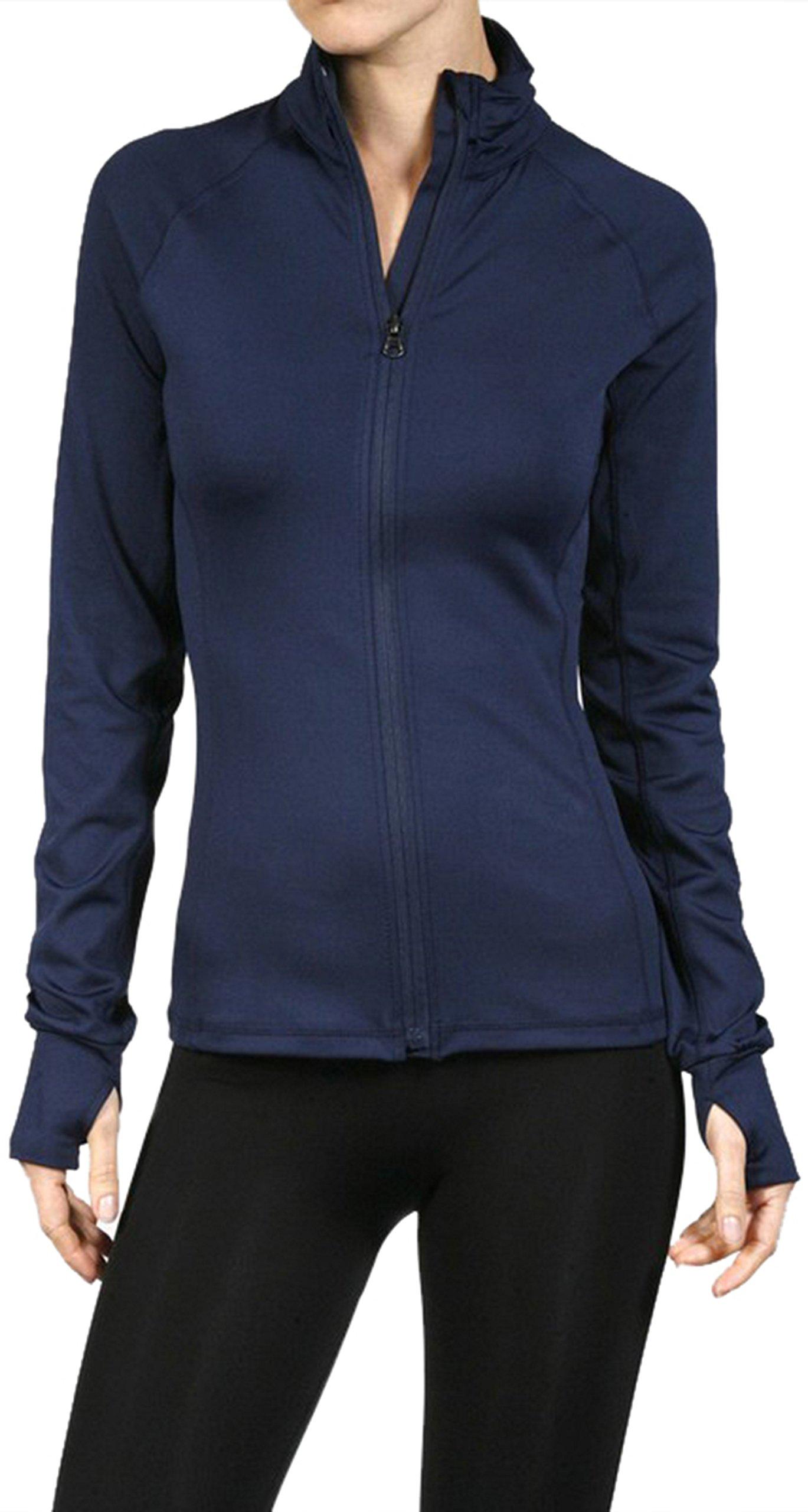 ToBeInStyle Women's Color Block L.S. Full Zip-Up Track Jacket - Navy - Medium