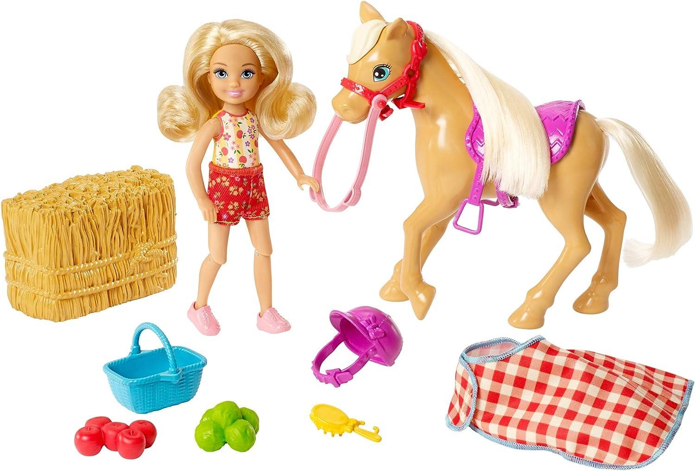 Barbie Chelsea Muñeca con poni y accesorios, juguetes + 3 años (Mattel GFF50)