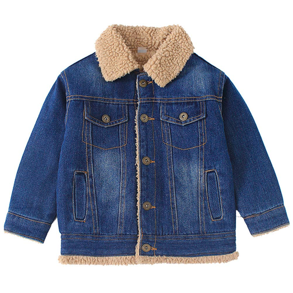 Oushiny Kids' Sherpa Lined Denim Jacket Warm Outerwear 2 Colors for 2 12