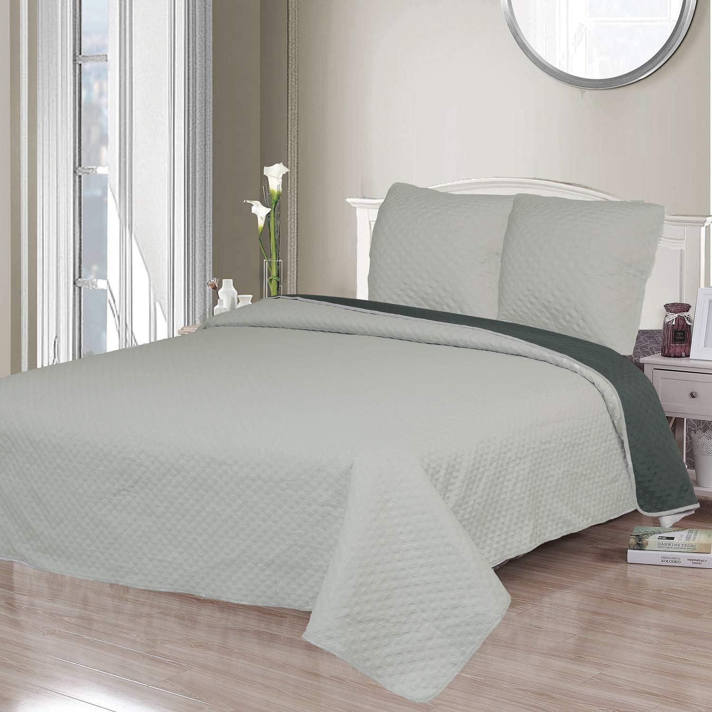 Montse Interiors Colcha Bout/í Liso Reversible Crema+Cuadrantes para Cama de 105//110//120 9102 Crema, 200x260+1 cuadrante