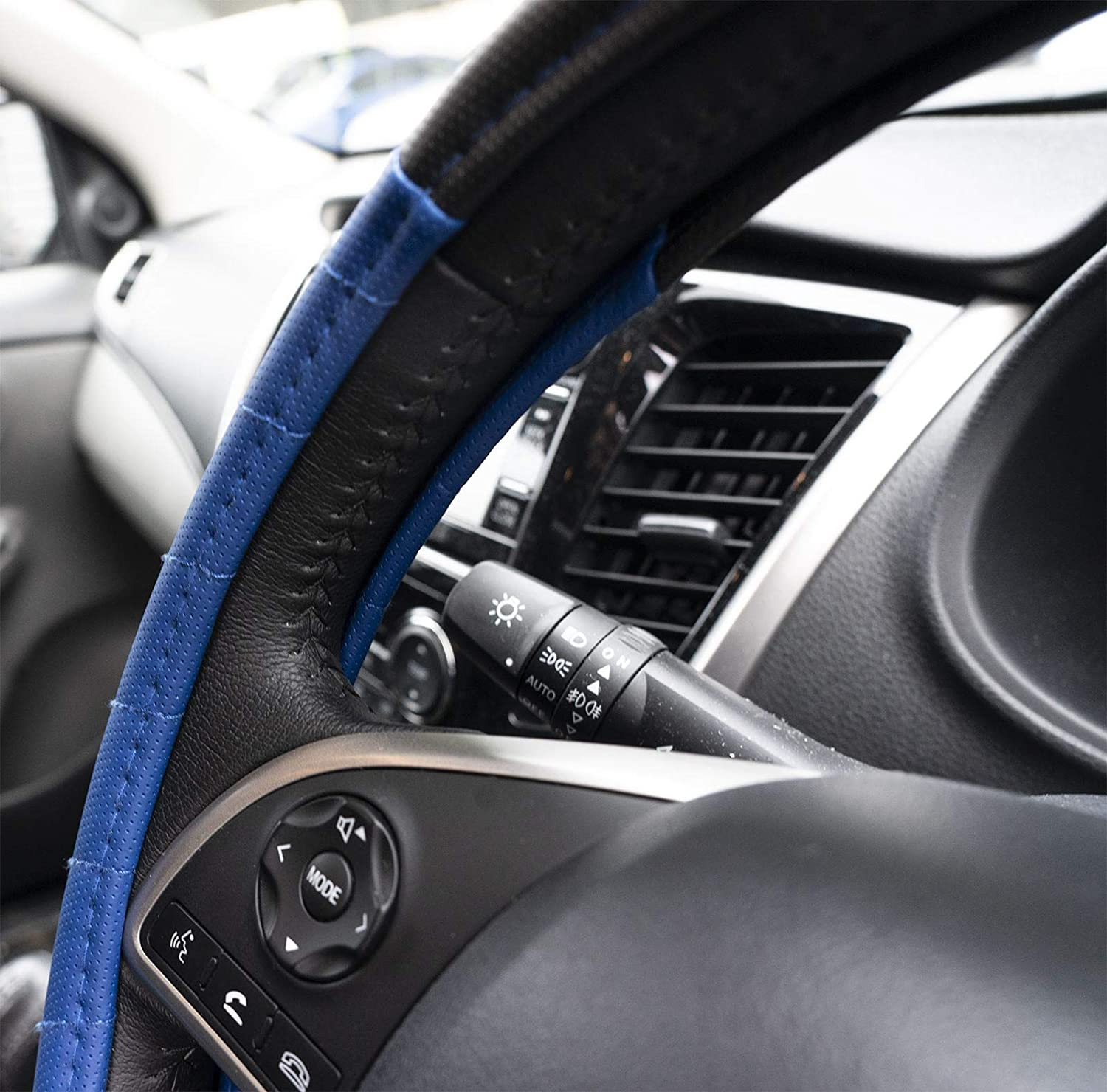 UKB4C Blue Steering Wheel Cover /& 8 Piece Seat Cover Set Washable Airbag Safe Full Protection