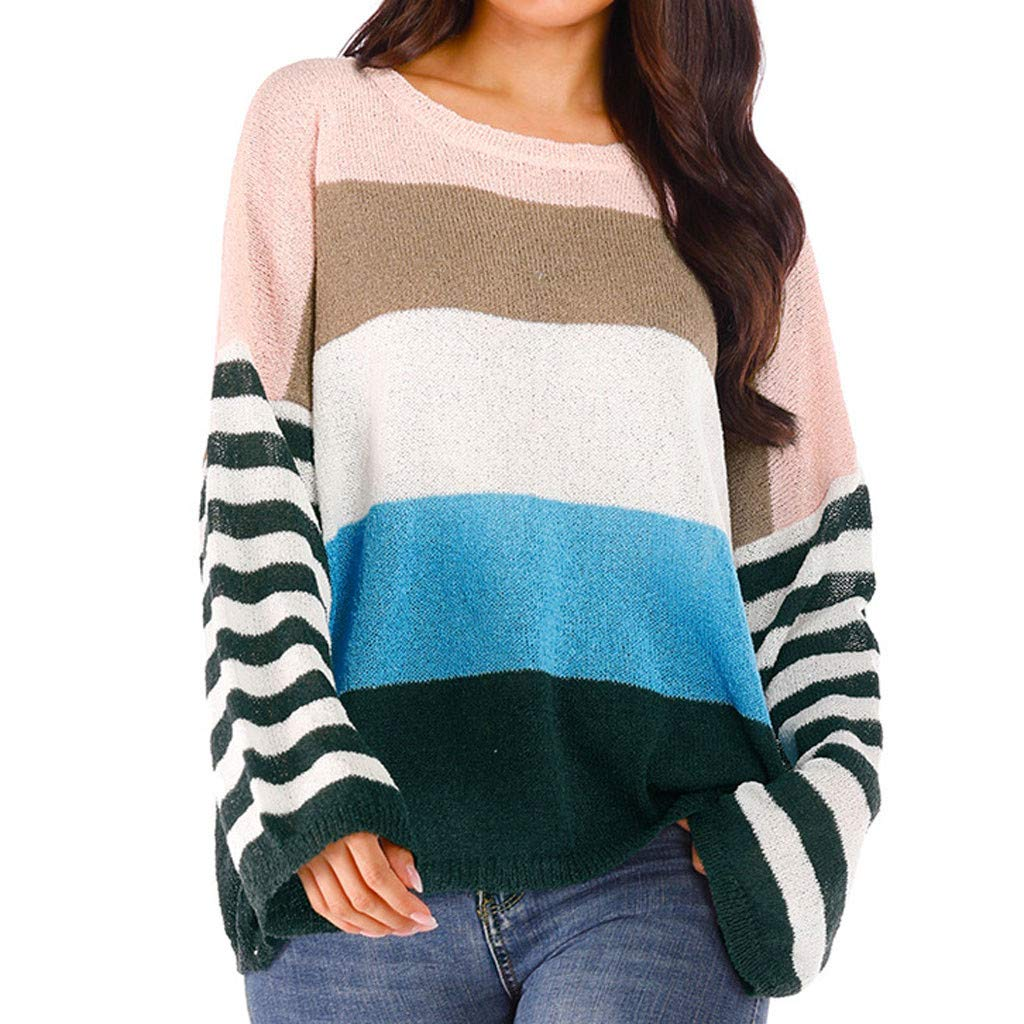 WUAI-Women Casual Color Block Stripe Knitted Crew Neck Loose Pullover Sweaters Jumper Tops(Green,XX-Large)