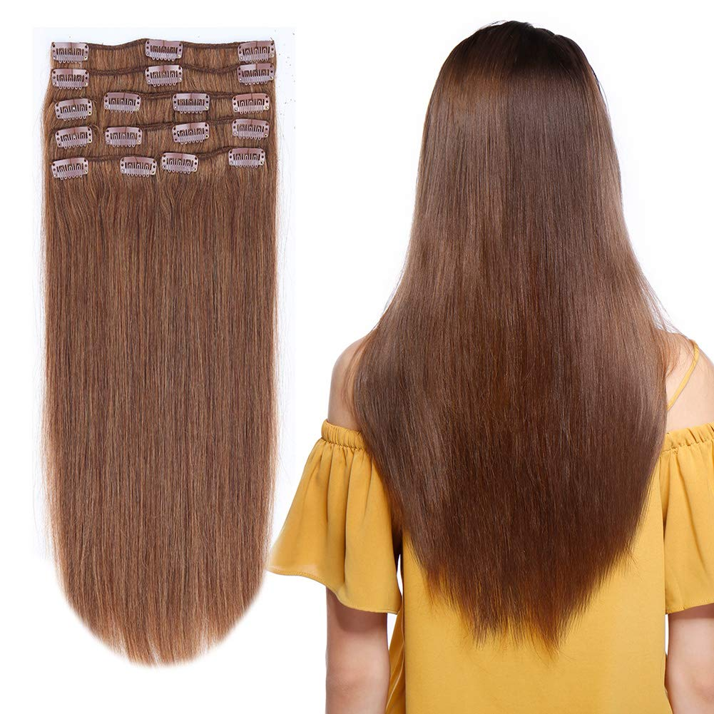 "10-24inch Clip in Remy Human Hair Extensions Grade 7A Thick to End Full Head Natural Hair Long Straight 8 Pieces 18clips 110g 22""-24''#6 Light Brown 71COHS6IVPL"