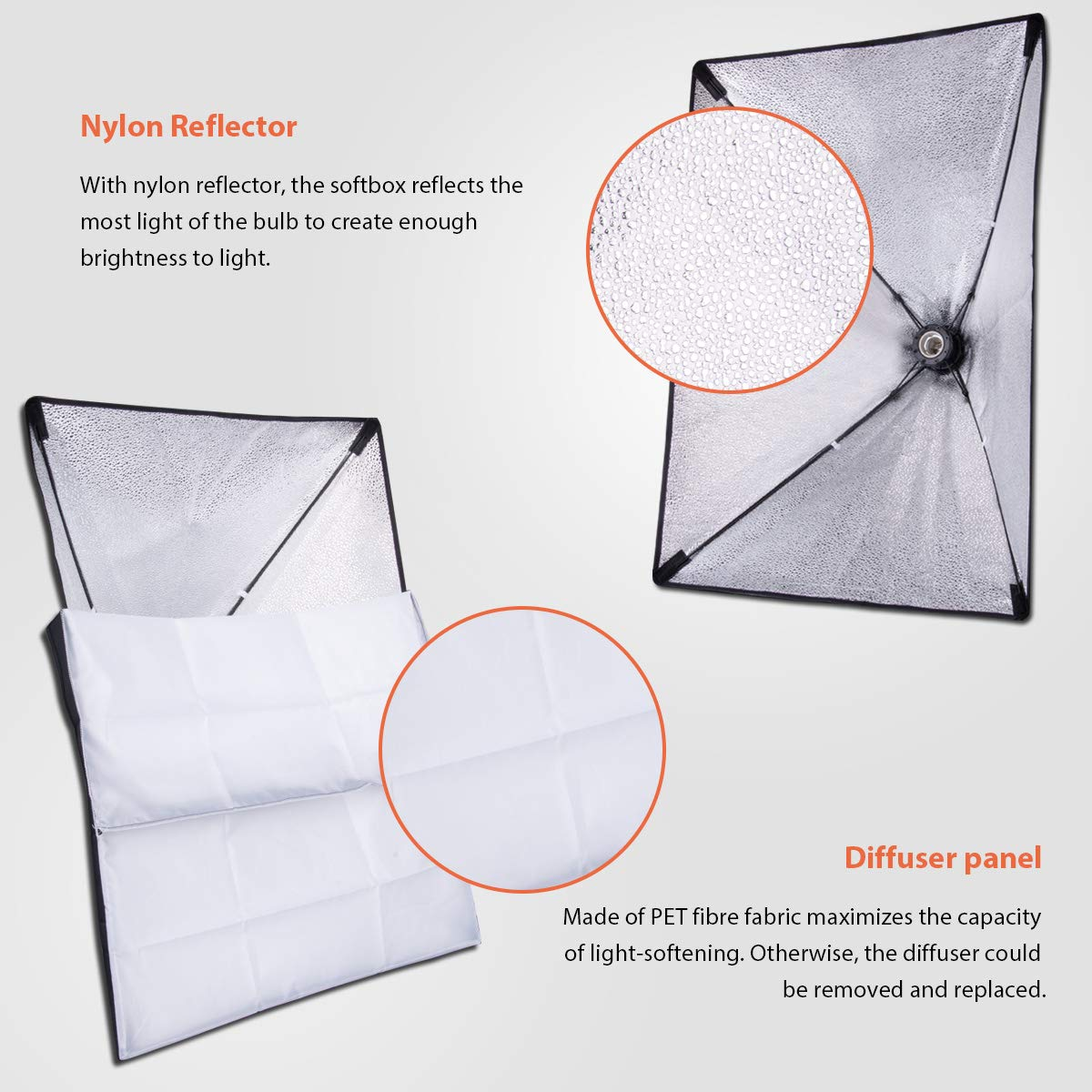 HPUSN Softbox Lighting Kit Professional Studio Photography Continuous Equipment with 85W 5500K E27 Socket Light and 2 Reflectors 50 x 70 cm and 2 Bulbs for Portrait Product Fashion Photography by HPUSN (Image #4)