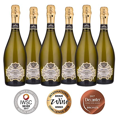 Premier Estates | Best Prosecco D.O.C. | Sparkling White Wine | Millesimato from Italy | Case of 6 x 75cl Bottles | Extra Dry