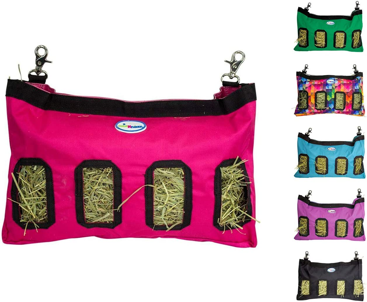 CuteNfuzzy Small Animal 1000D Nylon Hay Pouch Feeder Bags for Guinea Pigs and Rabbits - Available in Multiple Colors & Sizes