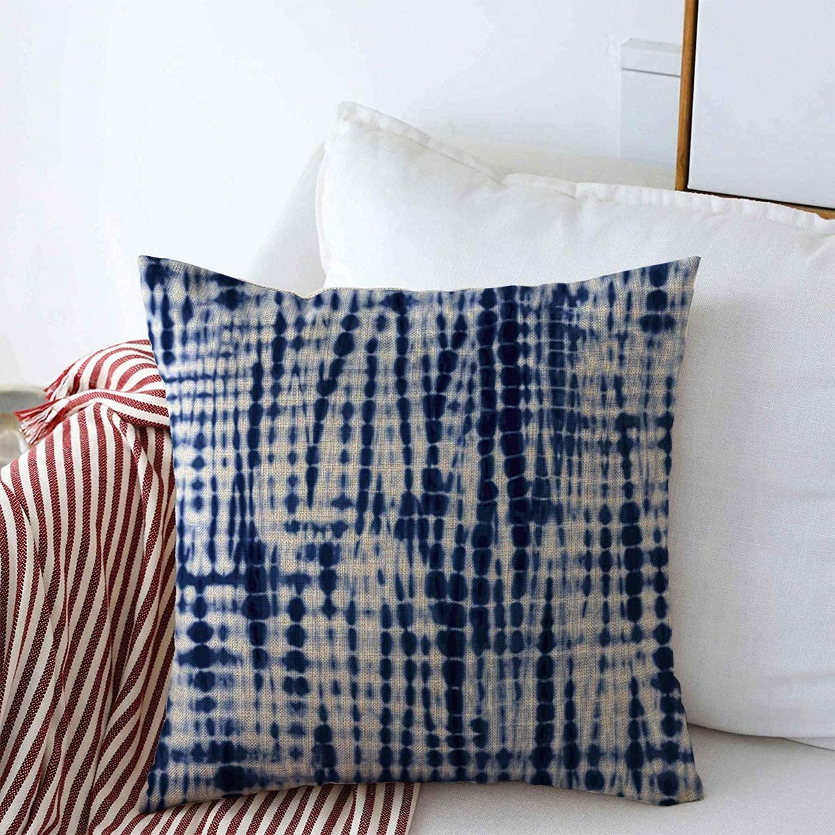 Starookc Throw Pillows Cover 18 x 18 Inches Navy Tie Indigo Blue Tiedye Pattern Abstract Dye Watercolor Batik Old Dyed Ink White Dipped Artistic Cushion Case Cotton Linen for Fall Home Decor