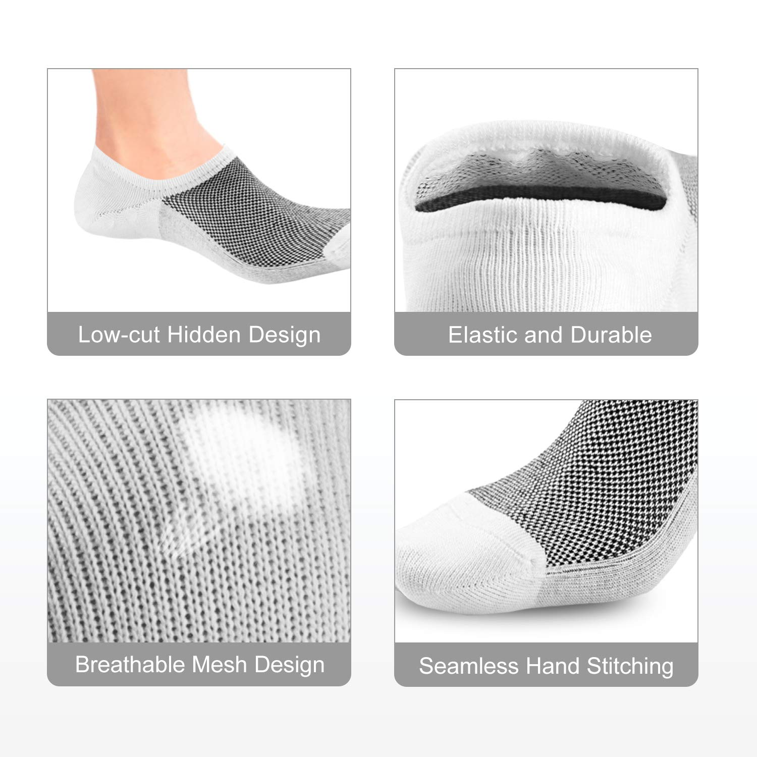 Fiream Low Cut No Show Socks Non Slip Socks for Women and Men Casual Invisible Socks 6 Pairs Black