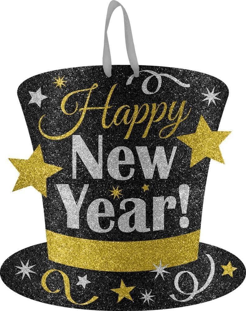 Happy New Year Medium Glitter Sign Gold Silver 11.5 x 11.5 Black