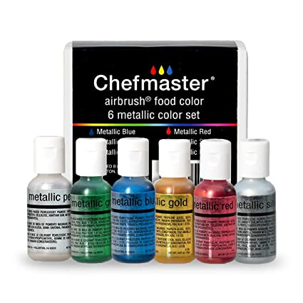 Chefmaster Airbrush Color Set, 6-Pack Metallic Airbrush Food Coloring Set,  Metallic Dye Free Food Coloring for Frosting Glitter Easter Eggs, Metallic  ...