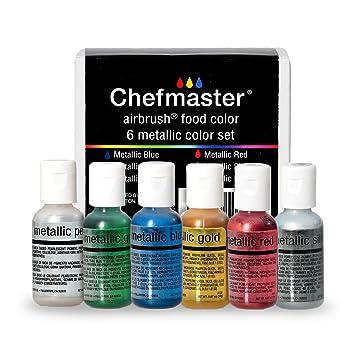 Amazon.com : Chefmaster Airbrush Color Set, 6-Pack Metallic Airbrush ...