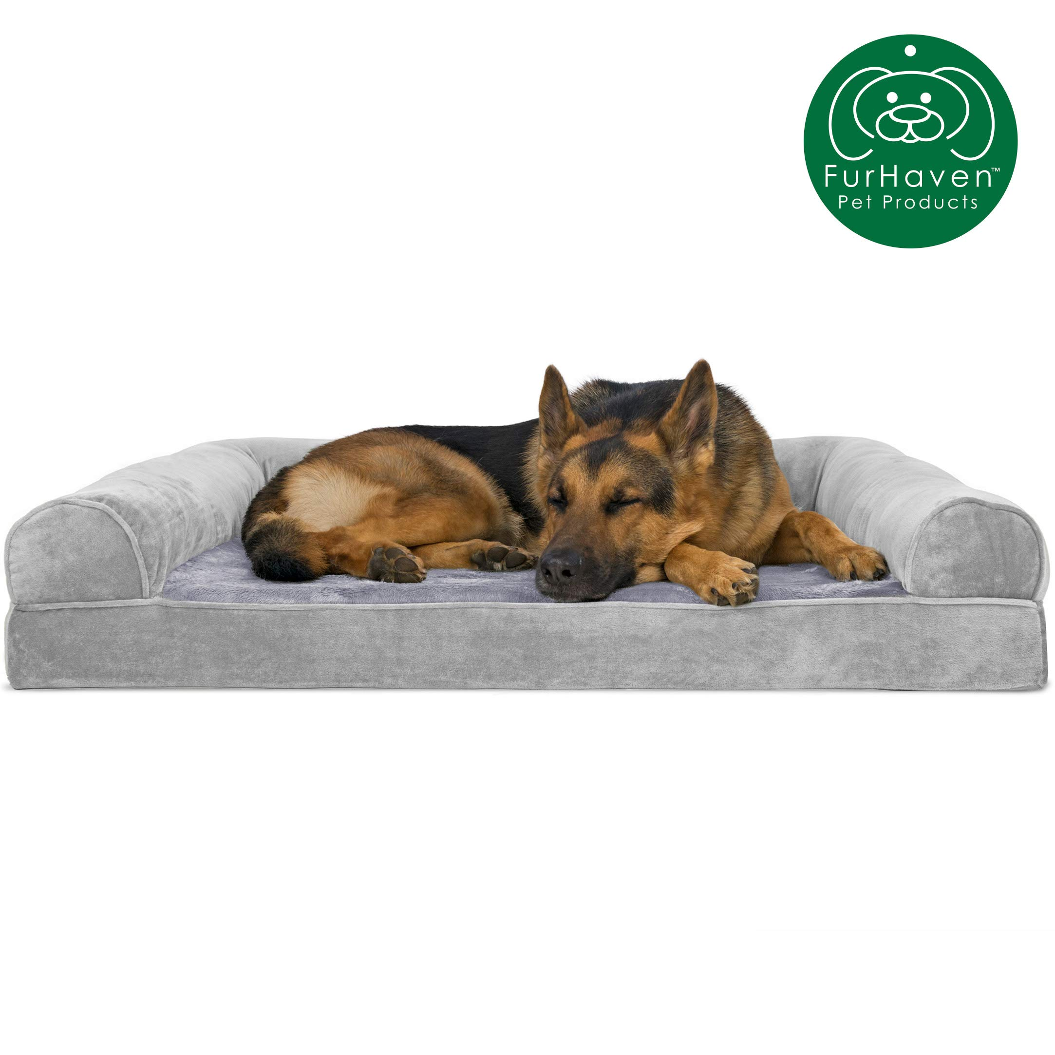 Furhaven Pet Dog Bed | Orthopedic Faux Fur & Velvet Traditional Sofa-Style Living Room Couch Pet Bed w/ Removable Cover for Dogs & Cats, Smoke Gray, Jumbo by Furhaven