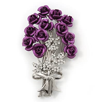 Violet 'Bunch Of Roses' Diamante Brooch In Silver Plating - 6.5cm Length S9Zgeh8Gf9