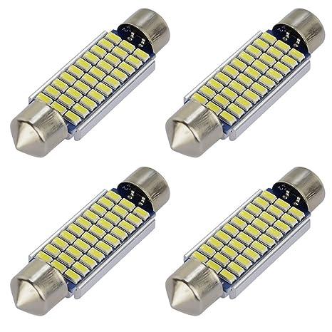"Safego 4x C5W LED Blanca 39mm 1.54"" 30-SMD-3014 3423 6411 Bombilla"