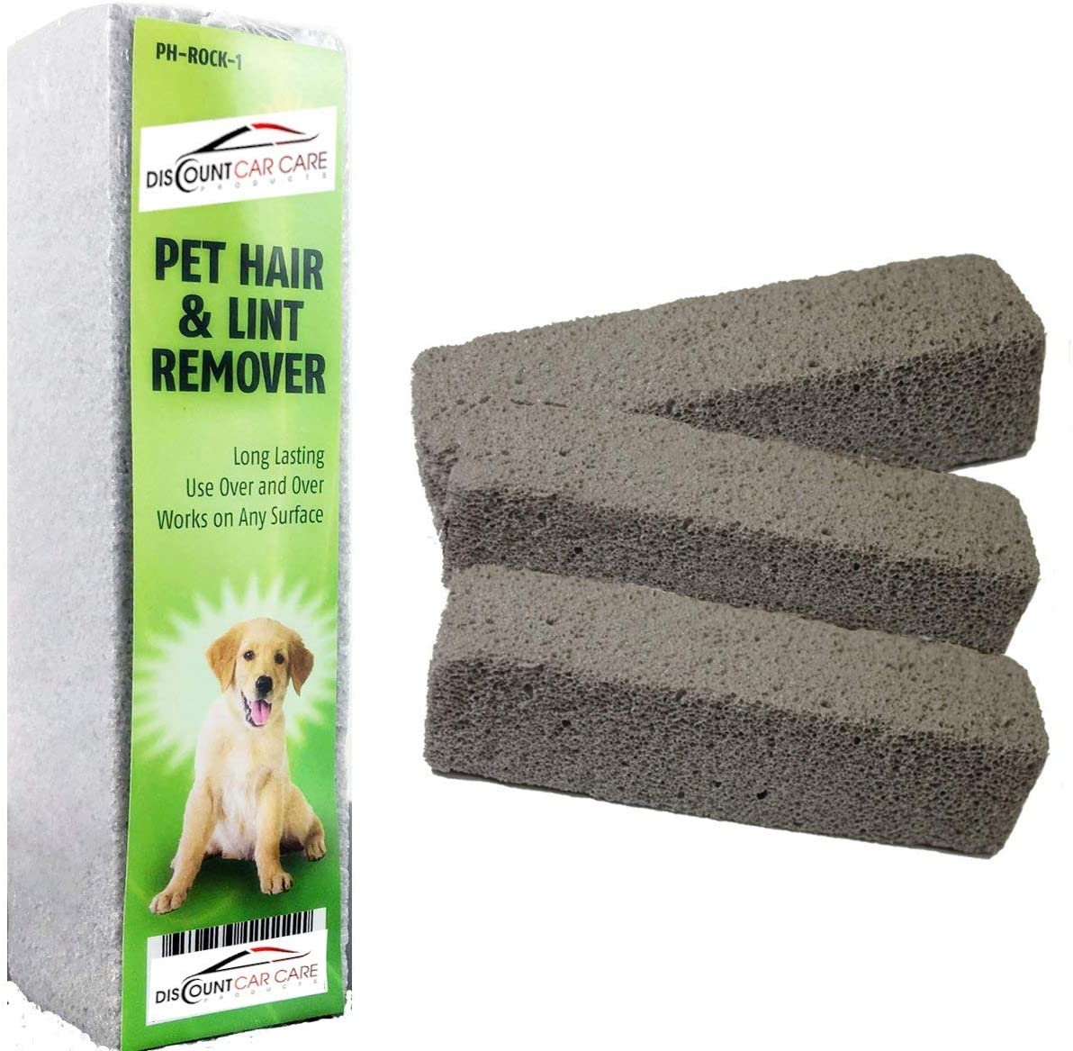 Pet Hair Remover Rock Removes Dog Hair or Cat Hair Quick, Easy & Efficient From Carpet & Upholstery (3 Pack)