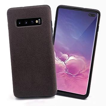Mthinkor Funda Samsung Galaxy S10 Plus Slim Caso Hecho del Material de Alcantara para Samsung Galaxy S10+ Plus(Gris)