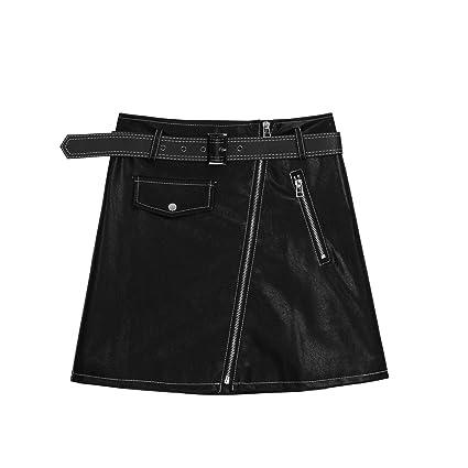 XCXDX Sexy Mini Falda De Cuero De PU Negra, Falda De Lápiz A-Line ...