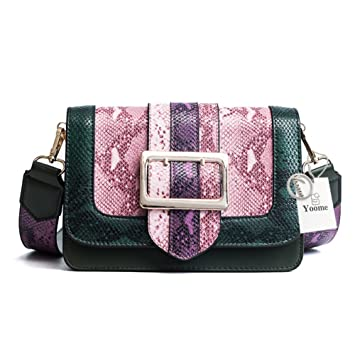 8f05aec7dd Yoome Snake Skin Texture Retro Leather Single Shoulder Bag Hit Color Crossbody  Bag Multi-Purpose Small Square Bag for Women with Wide Detachable Strap  ...