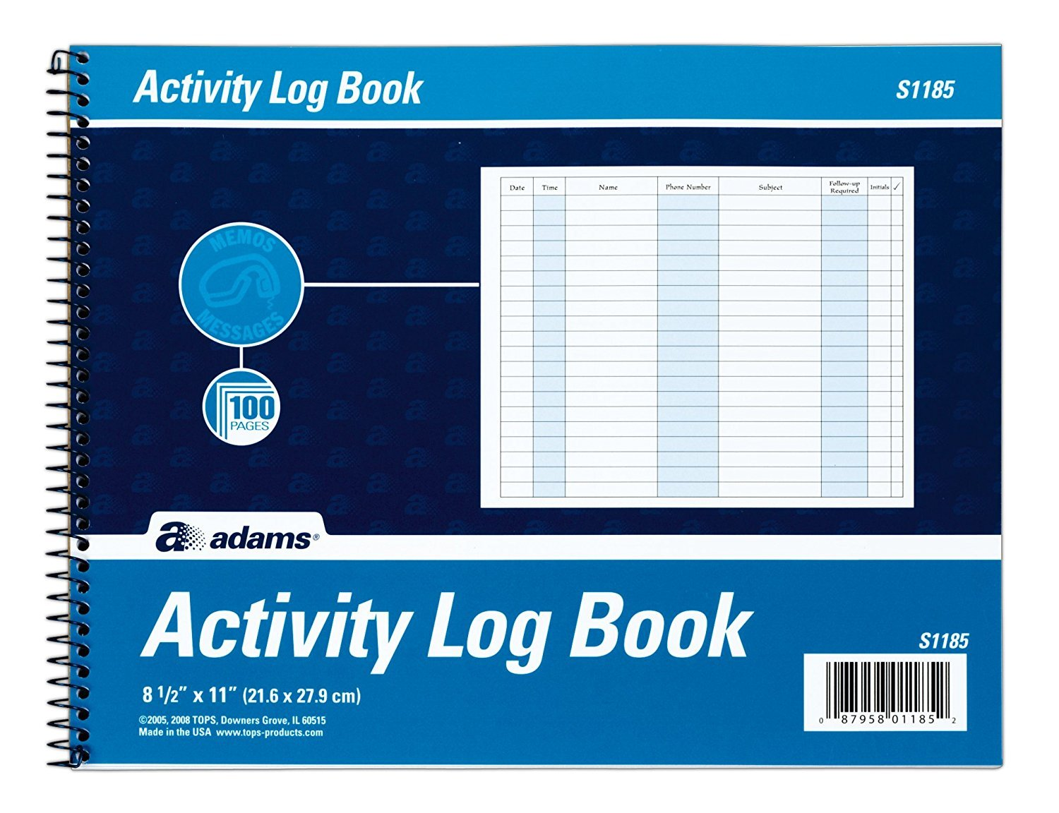Adams Activity Log Book, Spiral Bound, 8.5 x 11 inches, 100 Pages, White (S1185ABF) (2 Pack)