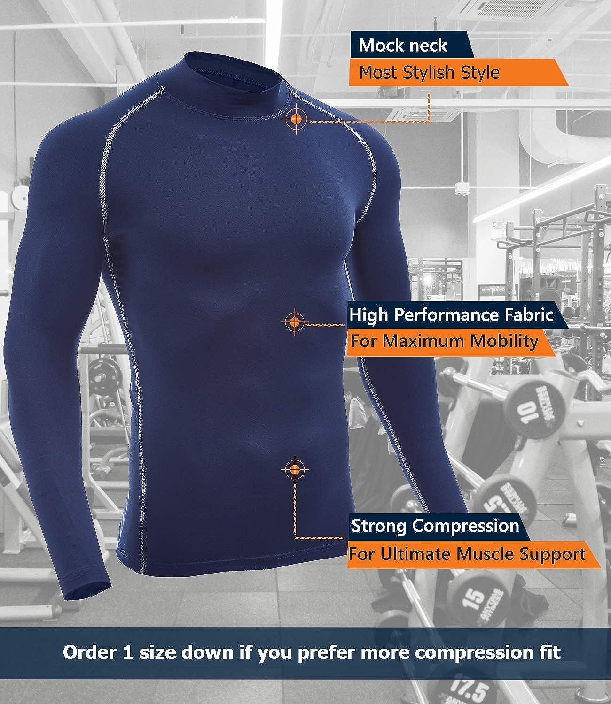 SILKWORLD Mens Long-Sleeve Compression Shirt Base-Layer Running Top