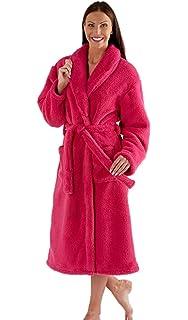 Ladies Dressing Gown New Womens Pink Lip Print Pout Fleece Bathrobe UK 12 14 M L