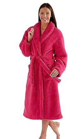 Ladies Fleece Dressing Gown Luxury Robe Navy Blue Pink Purple - Size ... ceeabcd6f29f
