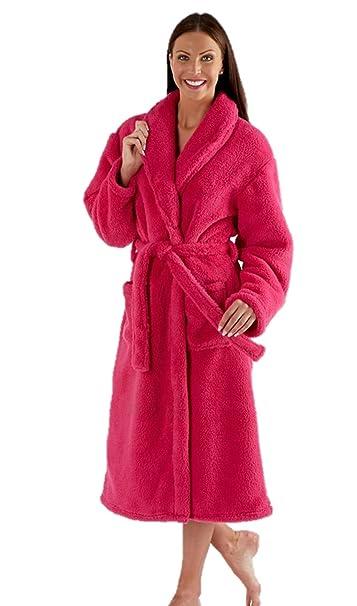 33c5e6451a Ladies Fleece Dressing Gown Luxury Robe Navy Blue Pink Purple - Size 10 12  14 16 18 20 22 24  Amazon.co.uk  Clothing