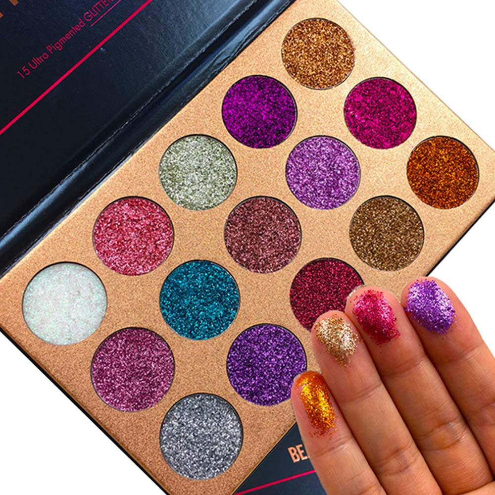 Beauty Glazed Pigmented 15 Colors Pressed Glitter Eyeshadow Palette Shiny Mineral Powder Eyes Long Stay On Make Up Eye Shadow Shimmer Palettes
