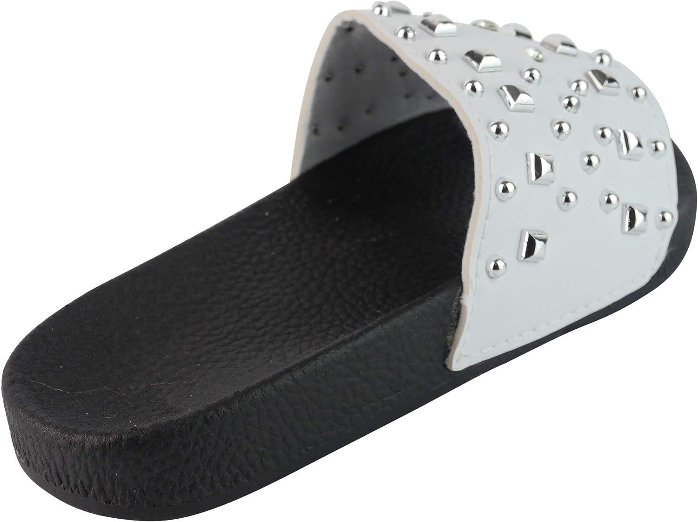 BeMeesh Womens Ladies Studded Sliders Sandals Mules