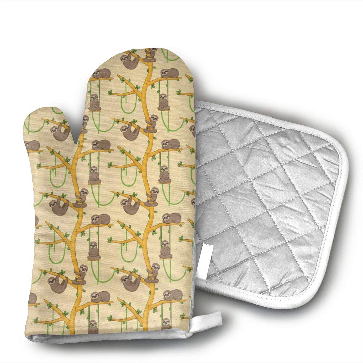 EROJfj Sloth Animal Cartoon Style Oven Mitts and Potholders BBQ Gloves-Oven Mitts and Pot Holders Non-Slip Cooking Gloves for Cooking Baking Grilling