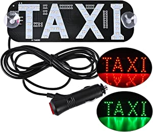 AutoEC Taxi LED Sign Decor, 2 Color Changeable Taxi Flashing Hook on Car Window with DC12V Car Charger Inverter
