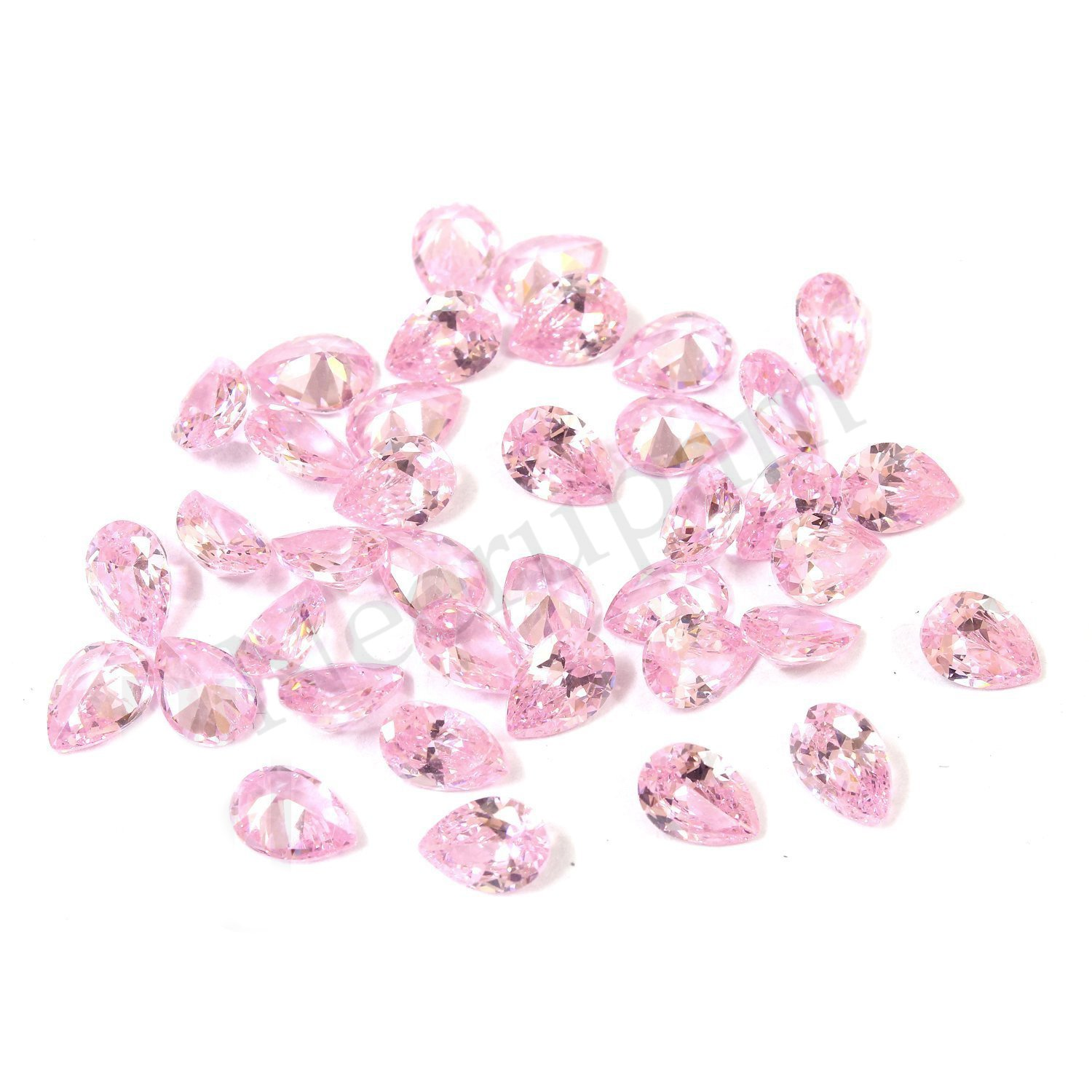Neerupam Collection Pink Colour Cubic Zirconia AAA Quality Diamond Cut Pears Shape loose gemstone by Neerupam Collection
