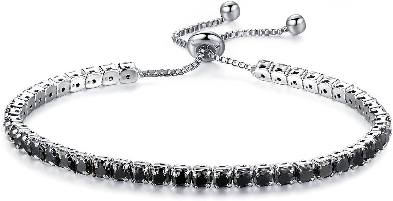 925 Sterling Silver Tennis Bracelets for Women Strand Sliding Tennis Bolo Bracelet Rhodium Plated Elegant Design Cubic Zirconia CZ Adjustable Bracelets for Women
