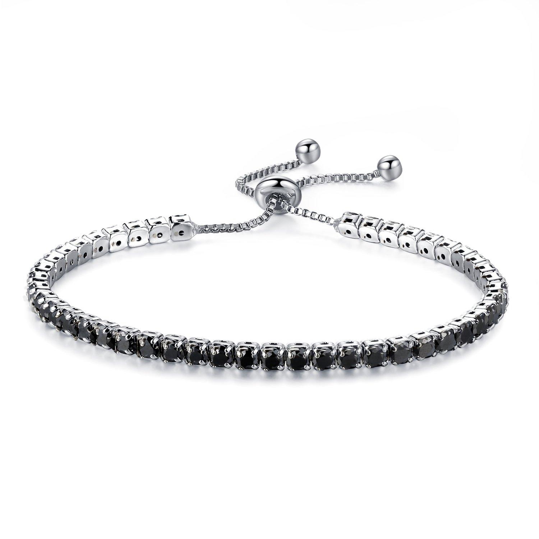 Moniya Adjustable Women Cubic Zirconia Tennis Bracelet Wedding Engagement Simulated Birthstone Jewelry