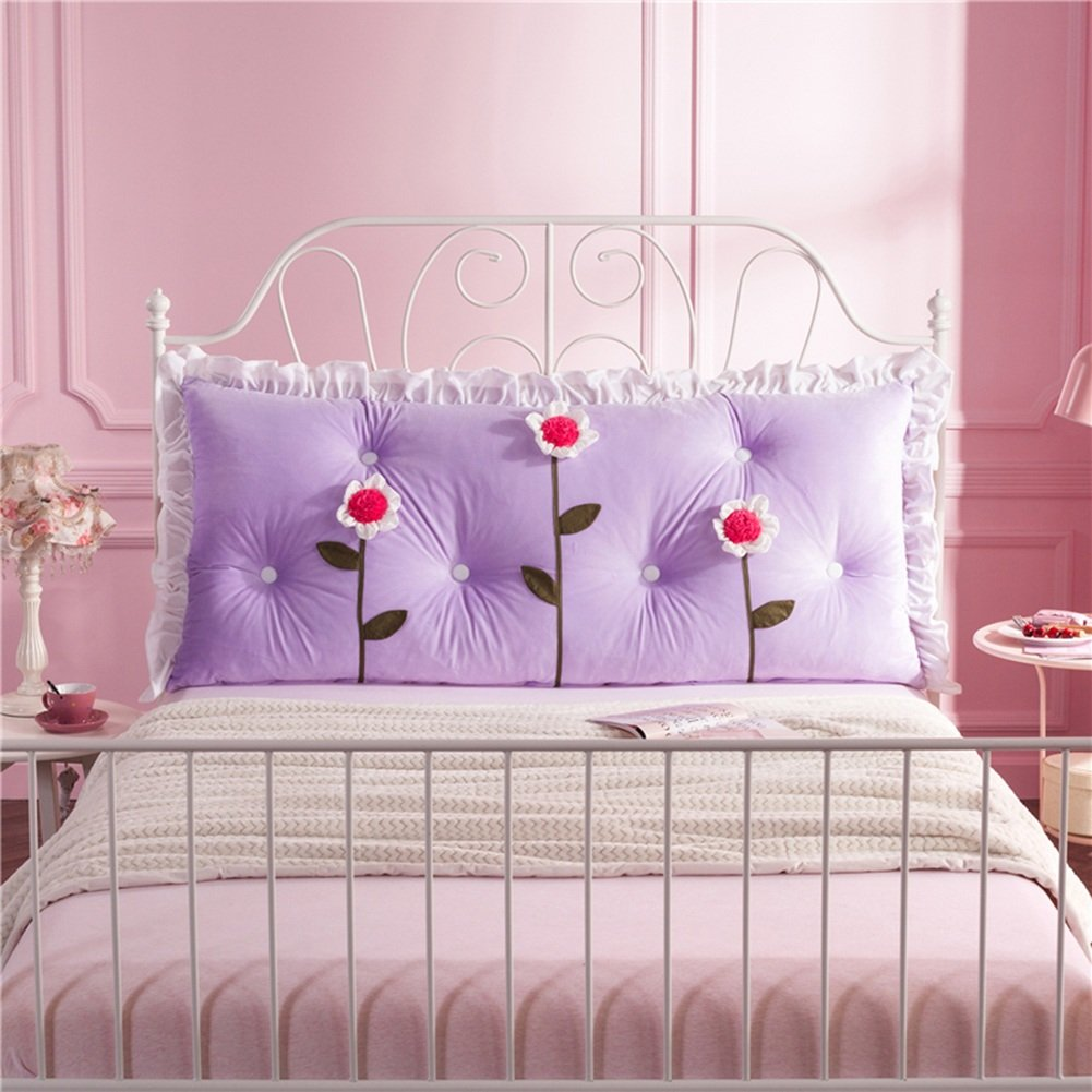 QIANGDA Bed Backrest/headboard Cushion Cotton Filling Prevent Bumping Head With 3 Flower Girl Bedroom, 8 Styles, 3 Sizes Optional (Color : Purple, Size : 150 x 70cm)